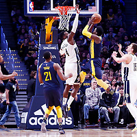 03 April 2018: Indiana Pacers guard Victor Oladipo (4) goes for the basket against Denver Nuggets forward Paul Millsap (4) during the Denver Nuggets 107-104 victory over the Indiana Pacers, at the Pepsi Center, Denver, Colorado, USA.