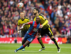 Miguel Angel Britos of Watford heads the ball away from Yannick Bolasie of Crystal Palace - Mandatory by-line: Robbie Stephenson/JMP - 24/04/2016 - FOOTBALL - Wembley Stadium - London, England - Crystal Palace v Watford - The Emirates FA Cup Semi-Final