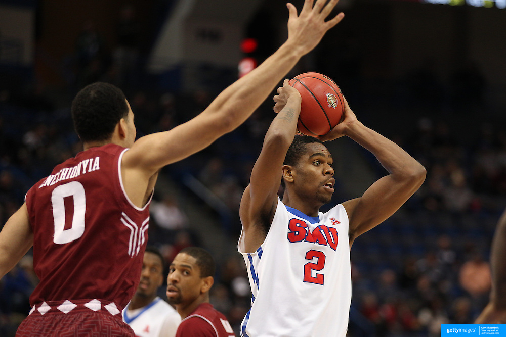 Yanick Moreira, SMU, in action during the Temple Vs SMU Semi Final game at the American Athletic Conference Men's College Basketball Championships 2015 at the XL Center, Hartford, Connecticut, USA. 14th March 2015. Photo Tim Clayton