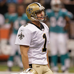 2009 September 03: New Orleans Saints PK John Carney (1) reacts after missing a field goal attempt during a preseason game between the Miami Dolphins and the New Orleans Saints at the Louisiana Superdome in New Orleans, Louisiana.