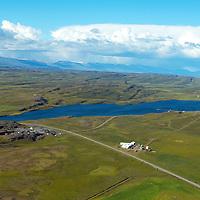 Hitaveita Egilstaða og Fella, Urriðavatn, Fellabær, séð til norðurs, Fljótsdalshérað. /.Central geothermal heating company of Egilstada and Fella, lake Urridavatn, Fellabaer, viewing north, Fljotsdalsherad