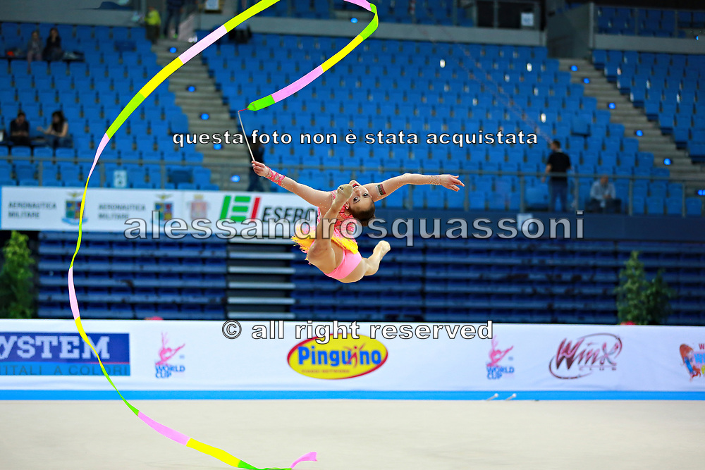 Vladinova Neviana during qualifying at ribbon in Pesaro World Cup April 11, 2015. Neviana is a gymnast from Bulgaria. She is born in Pleven February 23, 1994.