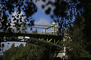 The Montlake Bridge, a drawspan dating to 1925, blends into its lush environs as if it were always meant to be there. (Ken Lambert/The Seattle Times)