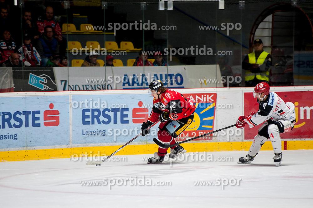 23.10.2016, Ice Rink, Znojmo, CZE, EBEL, HC Orli Znojmo vs HC TWK Innsbruck Die Haie, 13. Runde, im Bild v.l. Radek Cip (HC Orli Znojmo) Daniel Mitterdorfer (HC TWK Innsbruck) // during the Erste Bank Icehockey League 13th round match between HC Orli Znojmo and HC TWK Innsbruck Die Haie at the Ice Rink in Znojmo, Czech Republic on 2016/10/23. EXPA Pictures © 2016, PhotoCredit: EXPA/ Rostislav Pfeffer