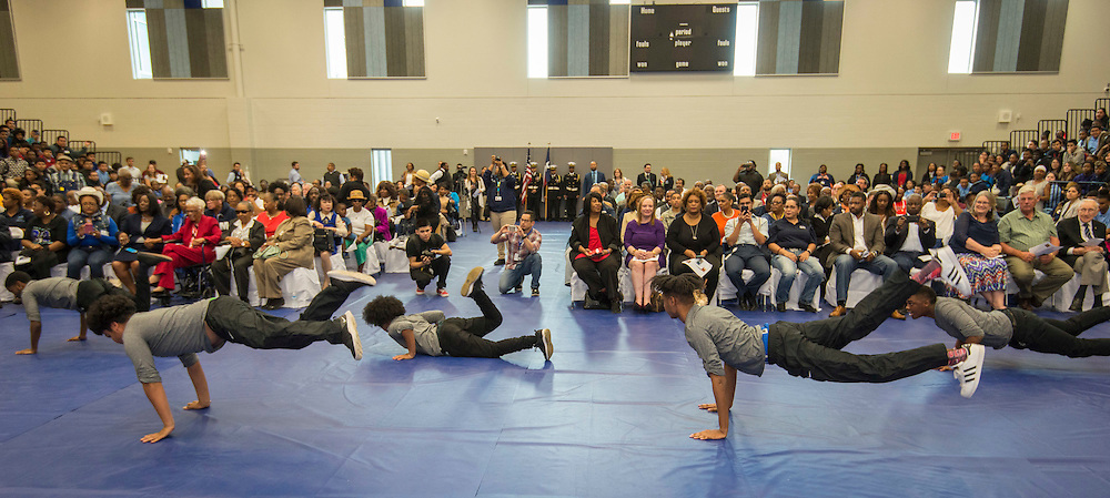Students perform during a ribbon cutting ceremony at Sterling High School, March 3, 2017.
