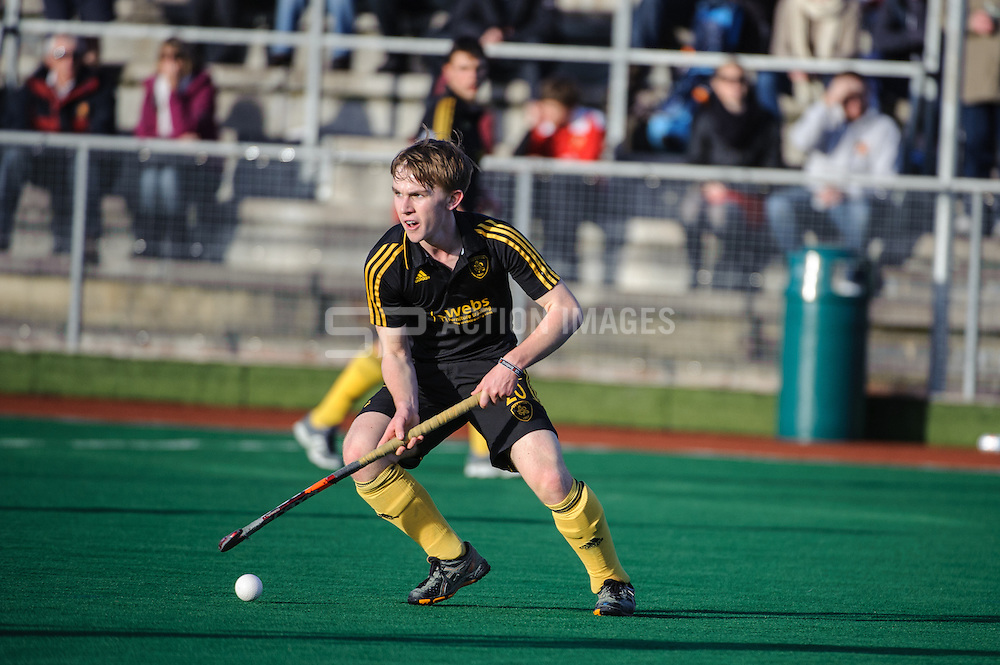 Joe Sharp of Beeston during their match aganst Holcombe in the England Hockey Men's Cup