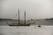 Miranda rowing the sane boat, schooner Americna Eagle