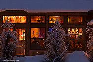 Haskill Station restaurant in winter in Whitefish, Montana, USA