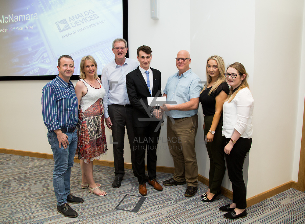 31.05.2017      <br /> University of Limerick Analog Devices Robbie McAdam Awards.<br /> Robbie McAdam Award recipient Cian McNamara, 3rd year with family and Dr. John Nelson, Head of The Electronic &amp; Computer Engineering (E&amp;CE) Department,UL and Mike Keaveney, ADI Fellow Analog Devices. Picture: Alan Place.
