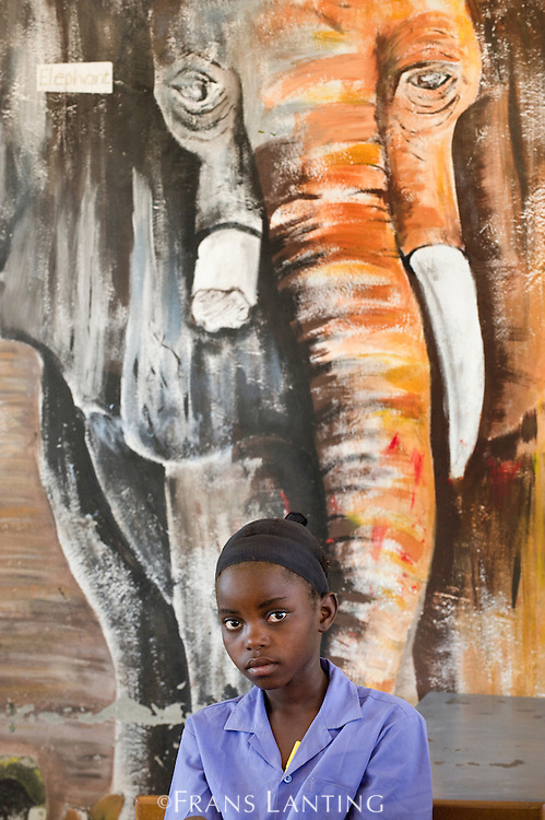 Student and wildlife mural inside school, Puros Village, Puros Conservancy, Damaraland, Namibia