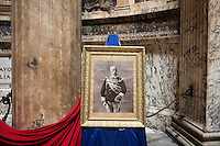 ROME, ITALY - 29 JULY 2014: A portraits of Umberto I (King of Italy from 1878 to 1900) stands here next to his tomb during a mass to commemorate the anniversary of his assassination, at the Pantheon in Rome, Italy, on July 29th 2014.<br /> <br /> The National Institute for the Honor Guards to the royal tombs of the Pantheon is a monarchic-oriented whose goal is to watch over the royal tombs at the Pantheon. Italy's first king, Vittorio Emanuele II and his son Umberto I, as well as Umberto's wife Queen Margherita are entombed in the Pantheon.