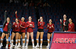 October 7, 2018 - Tucson, AZ, U.S. - TUCSON, AZ - OCTOBER 07: Washington State Cougars celebrates during a college volleyball game between the Arizona Wildcats and the Washington State Cougars on October 07, 2018, at McKale Center in Tucson, AZ. Washington State defeated Arizona 3-2. (Photo by Jacob Snow/Icon Sportswire) (Credit Image: © Jacob Snow/Icon SMI via ZUMA Press)