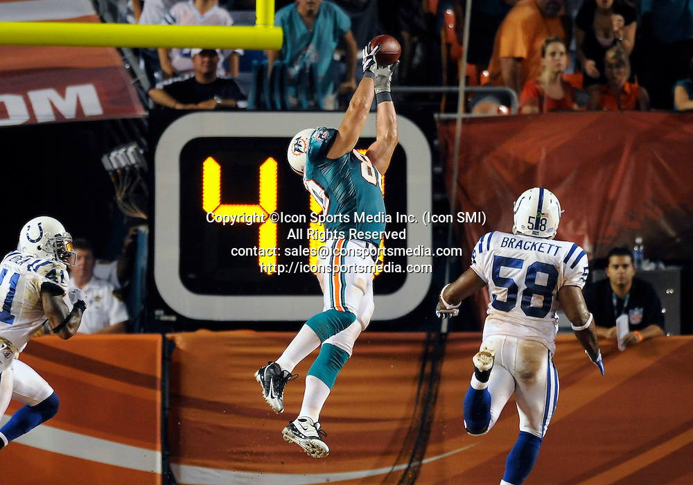 21 September 2009: Miami Dolphins tight end Anthony Fasano (80) drops a long pass against the Indianapolis  Colts in the Colts' 27-23 victory at Land Shark Stadium, Miami, Florida.