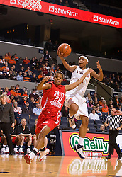 Virginia forward Lyndra Littles (1) drives to the basket past St. Francis (PA) guard Brittany Lilley (20).  The #15 ranked Virginia Cavaliers defeated the St. Francis (Pa.) Red Flash 82-66 in NCAA Women's Basketball at the John Paul Jones Arena on the Grounds of the University of Virginia in Charlottesville, VA on January 5, 2009.