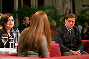 "Vienna, Austria. Cocktail reception hosted by Mayor Michael Häupl at City Hall for international scientists and researchers living and working in Vienna.<br /> Podium discussion ""The Experiences of International Scientists and Researchers Living and Working in Vienna - Challenges and rewards"".<br /> From l.: Renata Schmidtkunz, TV journalist; Prof. Katharine Sarikakis, Media Organisation and Governace, University of Vienna; Giulio Superti-Furga, Scientific Director of the CeMM Research Center for Molecular Medicine of the Austrian Academy of Science."
