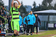 Forest Green Rovers manager, Mark Cooper shouts instructions during the Vanarama National League match between Forest Green Rovers and Braintree Town at the New Lawn, Forest Green, United Kingdom on 21 January 2017. Photo by Shane Healey.