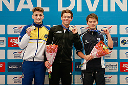 The Mens 10m Platform Final medallists, L-R, Silver, Matty Lee from City of Leeds Diving Club, Gold, Tom Daley from Dive London Aquatics Club and Bronze, Daniel Goodfellow from Plymouth Diving - Mandatory byline: Rogan Thomson/JMP - 24/01/2016 - DIVING - Southend Swimming & Diving Centre - Southend-on-Sea, England - British National Diving Cup Day 3.