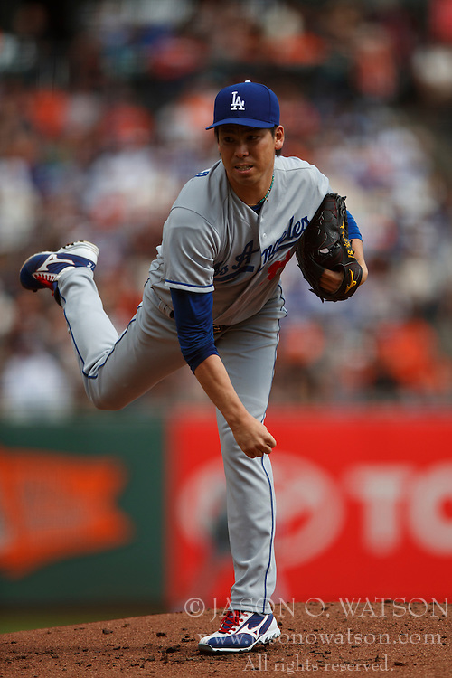 SAN FRANCISCO, CA - OCTOBER 02: Kenta Maeda #18 of the Los Angeles Dodgers pitches against the San Francisco Giants during the first inning at AT&T Park on October 2, 2016 in San Francisco, California. The San Francisco Giants defeated the Los Angeles Dodgers 7-1. (Photo by Jason O. Watson/Getty Images) *** Local Caption *** Kenta Maeda
