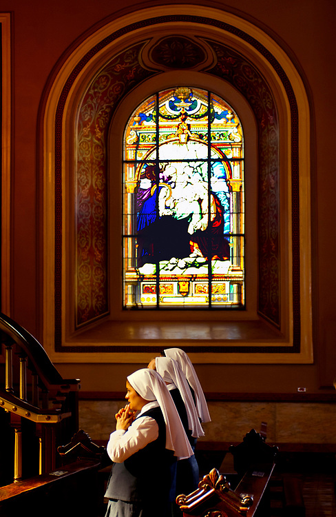 Costa Rica, San Jose, Metroplitan Cathedral, National Cathedral, Stain Glass, Nuns Praying