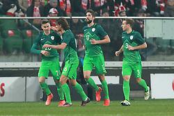 14.11.2016, Stadion Miejski, Wroclaw, POL, Testspiel, Polen vs Slowenien, im Bild OD LEWEJ GREGORSIKOSEK, RENE KRHIN,MIHA MEVLJA,BOBAN JOVIC RADOSC BRAMKA GO // during the international friendly football match between Poland vs Slovenia at the Stadion Miejski in Wroclaw, Poland on 2016/11/14. EXPA Pictures &copy; 2016, PhotoCredit: EXPA/ Newspix/ Jakub Piasecki<br /> <br /> *****ATTENTION - for AUT, SLO, CRO, SRB, BIH, MAZ, TUR, SUI, SWE, ITA only*****