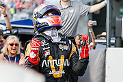 21-22 May, 2016, Indianapolis, Indiana, USA<br /> James Hinchcliffe celebrates getting the pole position<br /> &copy;2016, Sam Cobb<br /> LAT Photo US