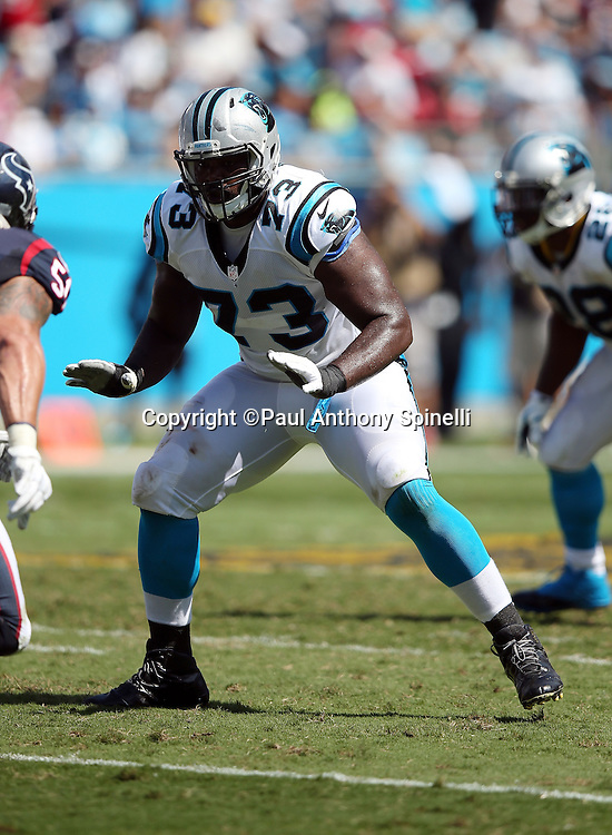 Carolina Panthers tackle Michael Oher (73) blocks during the 2015 NFL week 2 regular season football game against the Houston Texans on Sunday, Sept. 20, 2015 in Charlotte, N.C. The Panthers won the game 24-17. (©Paul Anthony Spinelli)
