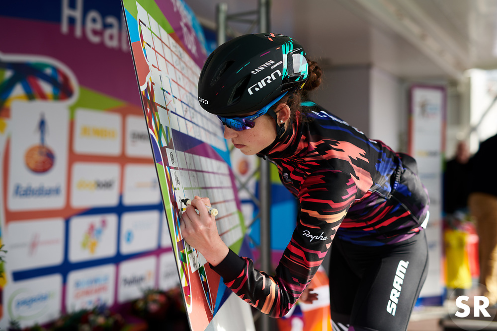 Christa Riffel (GER) signs on at Healthy Ageing Tour 2018 - Stage 4, a 143 km road race starting and finishing in Winsum on April 7, 2018. Photo by Sean Robinson/Velofocus.com