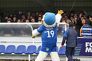 Haydon the Womble waving at away fans during the EFL Sky Bet League 1 match between AFC Wimbledon and Gillingham at the Cherry Red Records Stadium, Kingston, England on 23 November 2019.