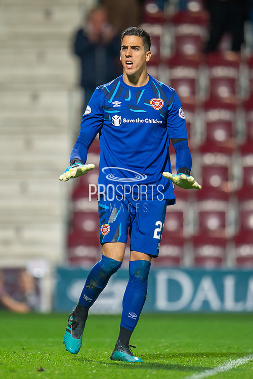 Joel Pereira (#23) of Heart of Midlothian FC during the Betfred Scottish Football League Cup quarter final match between Heart of Midlothian FC and Aberdeen FC at Tynecastle Stadium, Edinburgh, Scotland on 25 September 2019.
