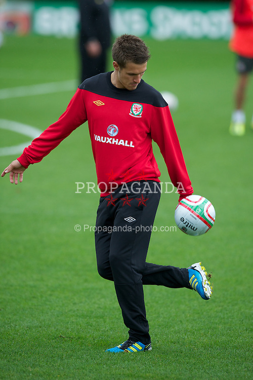 CARDIFF, WALES - Monday, August 8, 2011: Wales' captain Aaron Ramsey during training at the Vale of Glamorgan ahead of the International Friendly match against Australia. (Photo by David Rawcliffe/Propaganda)