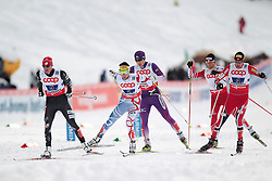 24.02.2013, Langlaufstadion, Lago di Tesero, ITA, FIS Weltmeisterschaften Ski Nordisch, Nordische Kombination, Langlauf Team, im Bild Bill Demong (USA) // Bill Demong of United States with Jason Lamy Chappuis (FRA) // Jason Lamy Chappuis of France and Mario Stecher (AUT) // Mario Stecher of Austria and Yusuke Minato (JPN) // Yusuke Minato of Japan and during the Mens Nordic Combined Team Race of the FIS Nordic Ski World Championships 2013 at the Cross Country Stadium, Lago di Tesero, Italy on 2013/02/24. EXPA Pictures  ©  2013, PhotoCredit: EXPA/ Federico Modica