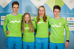 Luka Markun, Anja Mandeljc, Nina Klemencic and Vilija Crv during presentation of Team Slovenia at Lillehammer 2016 Winter Youth Olympic games, on February 4, 2016 on Bled, Slovenia. Photo by Ziga Zupan / Sportida