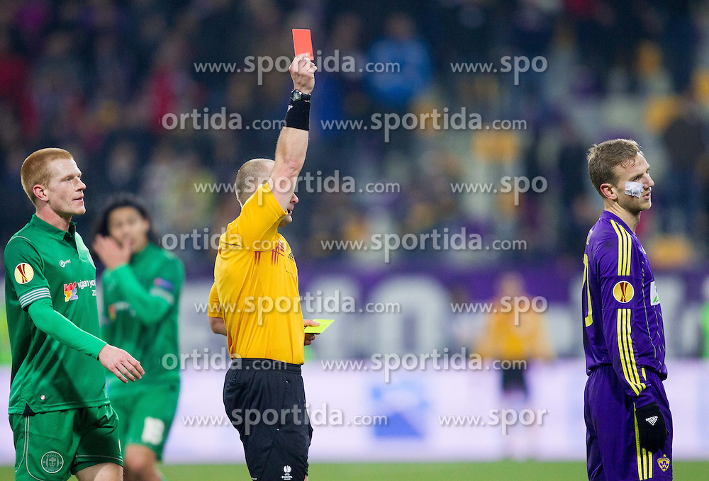 Red card for Ales Mertelj #70 of Maribor during football match between NK Maribor and Wigan Athletic FC (ENG) in Round 6 of Group D of UEFA Europa League 2014, on December 12, 2013 in Stadion Ljudski vrt, Maribor, Slovenia. Maribor won against Wigan 2-1 and qualified to next Stage. Photo by Vid Ponikvar / Sportida