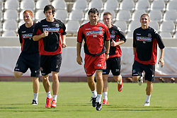 Nicosia, Cyprus - Friday, October 12, 2007: Wales' assistant manager Dean Saunders leads the side during training at the new GPS Stadium ahead of their UEFA Euro 2008 Qualifying match against Cyprus in Nicosia. (Photo by David Rawcliffe/Propaganda)