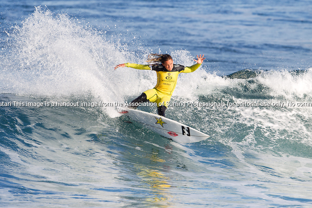 Courtney Conlogue of Santa Ana, California, USA (pictured), advanced into Round 4 of the Womens Ripcurl Pro Bells Beach, defeating Nikki van Dijk (AUS) with a heat total of 17.00 points (out of a possible 20.00) and placing second to Sally Fitzgibbons (AUS) in the non-elimination Round 3 at Rincon, Bells Beach today.