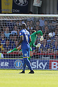 Graham Carey of Plymouth Argyle scores and celebrates during the Sky Bet League 2 match between AFC Wimbledon and Plymouth Argyle at the Cherry Red Records Stadium, Kingston, England on 8 August 2015. Photo by Stuart Butcher.