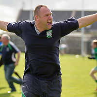Wolfe Tone's Manager Jason Casey celebrates after his sides Intermediate Football Final replay win