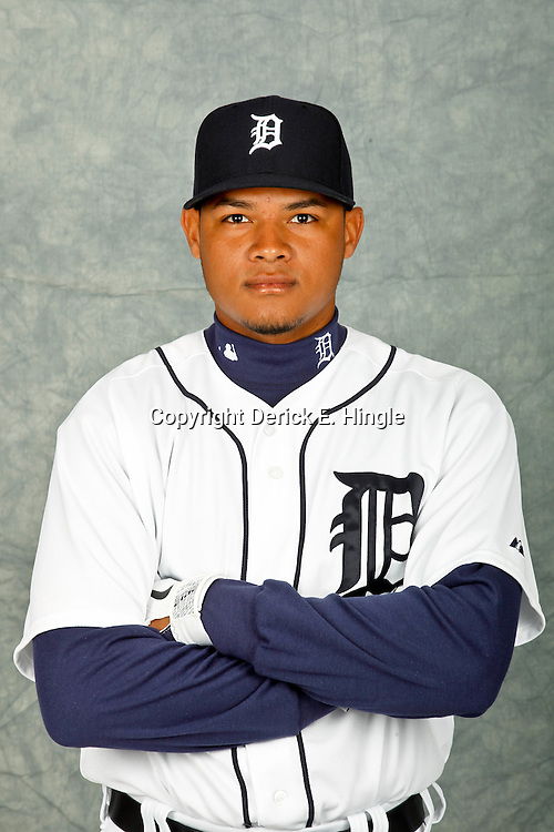 February 28, 2012; Lakeland, FL, USA; Detroit Tigers second baseman Argenis Diaz (70) poses for photo day in the rec room at the Detroit Tigers Headquarters.  Mandatory Credit: Derick E. Hingle-US PRESSWIRE