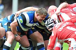 David Wilson (Bath) prepares to scrummage against his opposite number - Photo mandatory by-line: Patrick Khachfe/JMP - Tel: Mobile: 07966 386802 12/04/2014 - SPORT - RUGBY UNION - Kingsholm Stadium, Gloucester - Gloucester Rugby v Bath Rugby - Aviva Premiership.