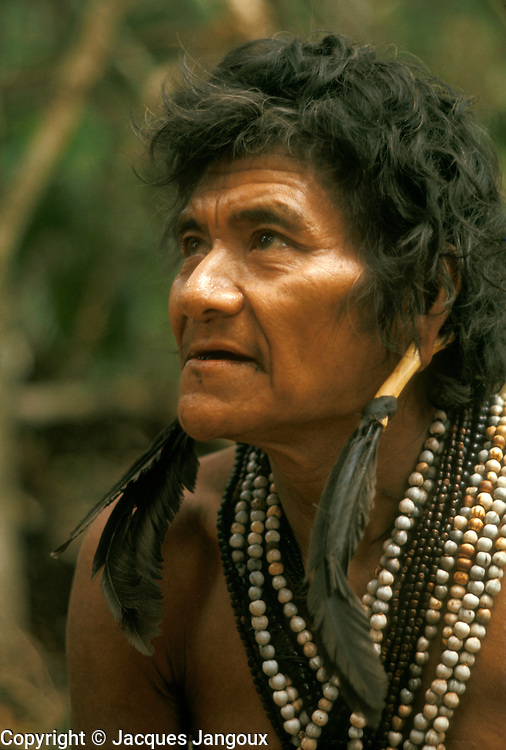 Portrait of Hoti (Hodi) Indian man in Guiana Highlands in Venezuela.