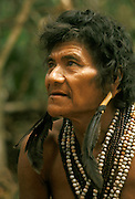 Portrait of Hoti (Hodi) Indian man in Guiana Highlands in Venezuela.