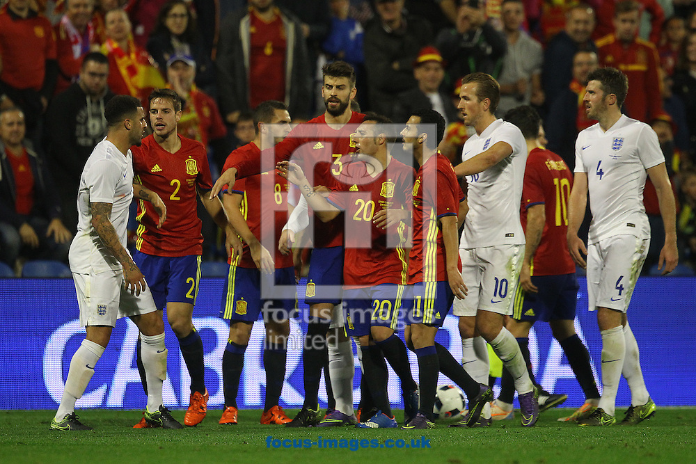 Tempers flare during the International Friendly match at Estadio Jos&eacute; Rico P&eacute;rez, Alicante<br /> Picture by Paul Chesterton/Focus Images Ltd +44 7904 640267<br /> 13/11/2015