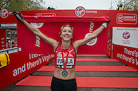 Paula Radcliffe immediately after completing her last marathon in The Virgin Money London Marathon, Sunday 26th April 2015.<br /> <br /> Roger Allen for Virgin Money London Marathon<br /> <br /> For more information please contact Penny Dain at pennyd@london-marathon.co.uk