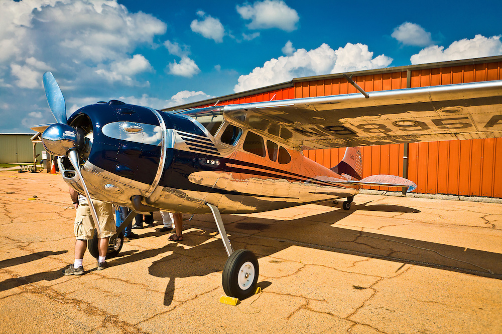 Cessna 195 photographed on a glorious summer afternoon at Peachstate Aerodrome, near Williamson, Ga.