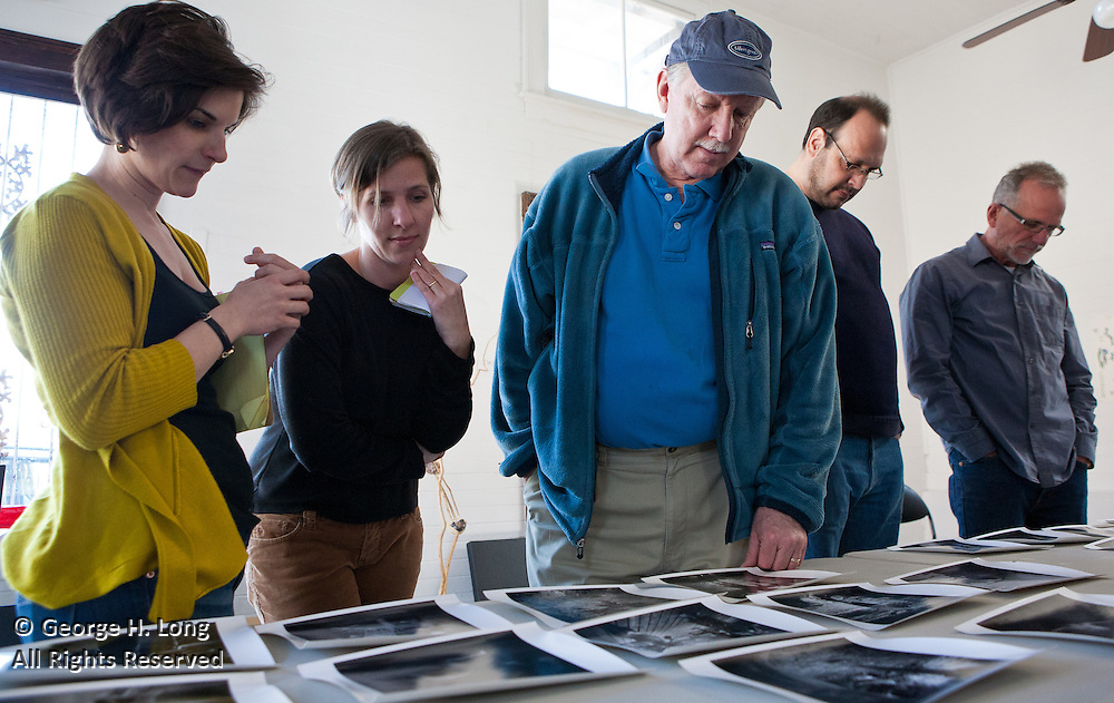 Jock Sturges reviews the portfolios of photographers Kevin Kline, Jennifer Shaw, Morgan Sasser, Dave Rodrigue, Mead Jones, Tina Freeman, Wallace Merritt, and Sam Portera at HomeSpace Gallery; also in attendance were Jenny Bagert and Charles Megnin
