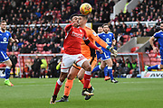 Swindon Town striker Keshi Anderson (30) knocks the ball past Chesterfield goalkeeper Joe Anyon (12) but misses the target 0-0 during the EFL Sky Bet League 2 match between Swindon Town and Chesterfield at the County Ground, Swindon, England on 11 November 2017. Photo by Alan Franklin.