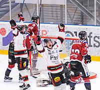 2020-01-11 | Umeå, Sweden:Piteå (79) Erik Wikgren score 2-2 in AllEttan during the game  between Teg and Piteå at A3 Arena ( Photo by: Michael Lundström | Swe Press Photo )<br /> <br /> Keywords: Umeå, Hockey, AllEttan, A3 Arena, Teg, Piteå, mltp200111, happy happiness celebration celebrates, happy joy smiling
