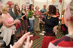 West African singer; Carmen Souza; running a singing workshop at the WOMAD (World of Music; Arts and Dance) Festival in reading; 2005,