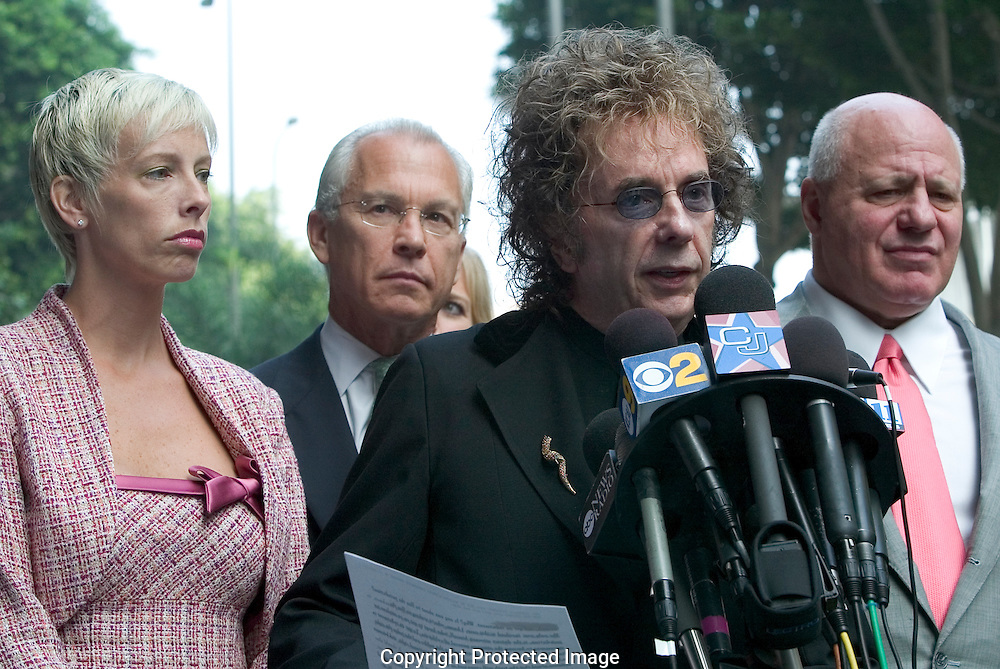"Record Producer Phil Spector Indicted For Murder of movie actress and House of Blues hostess Lana Clarkson...Spector read a prepared statement professing his innocence of Clarkson's death...Spector, who was arrested soon after the shooting, claimed in an interview with Esquire magazine that Clarkson ""kissed the gun'' and killed herself. ..The 1989 Rock and Roll Hall of Fame inductee is best known for his layered ""Wall of Sound'' recording technique. He has worked with the Crystals, the Ronettes, the Ramones, Gene Pitney, the Righteous Brothers, Bruce Springsteen and the Beatles. ..He is free on 1 million dollar bond...9/27/04.Criminal Courts Bldg. Downtown, LA, CA USA."