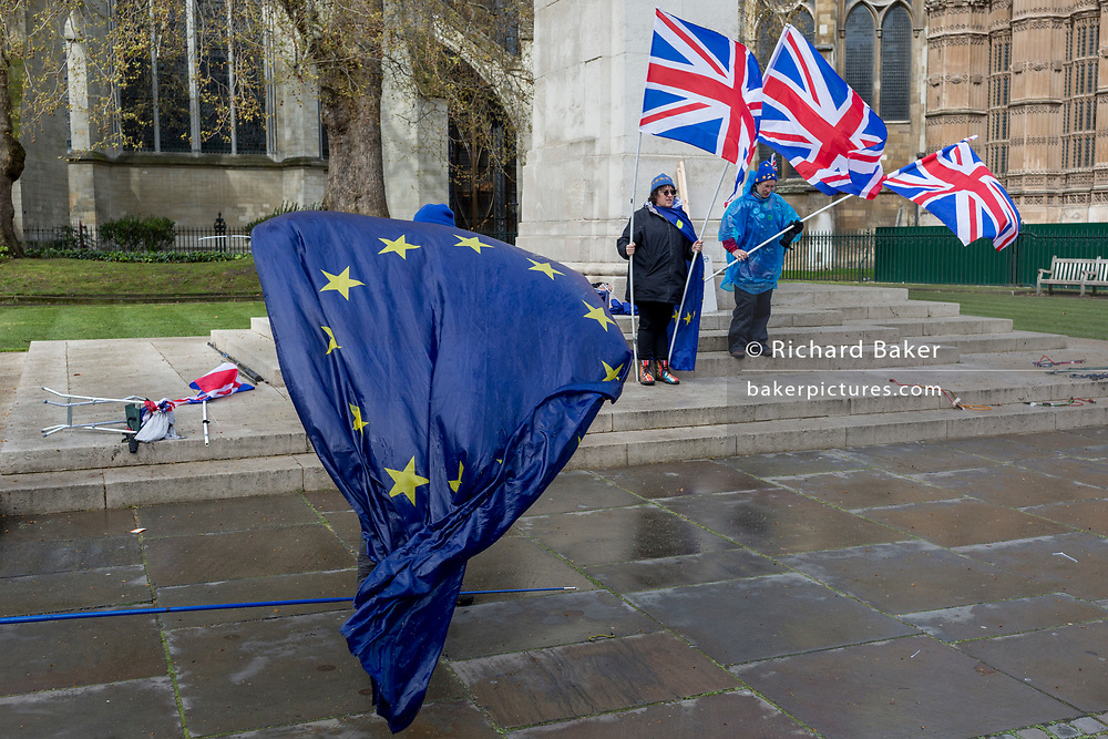 As Prime Minister Theresa May again meets opposition Labour leader Jreemy Corbyn in an attempt to break the deadlock in parliament of Brexit, pro-EU protestors stand opposite parliament in Westminster, on 4th April 2019, in London, England.